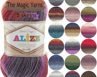 Alize Superlana Batik Classic yarn-Set of 5 skeins,DK yarn, wool, acrylic, wool blend yarn, batik color, multicolor yarn, knitting yarn