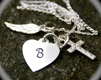 My Angel - Communion/Confirmation - Angel Wing, Heart with Initial and Cross Sterling Silver Necklace