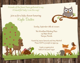 Baby Shower Invitations, Woodland, Forest, Owl, Fox, Gender Neutral, Girl, Green, Pink, Woodland Friends, Forest Friends, 10 Printed Invites