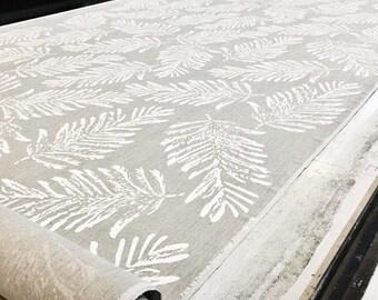 Hanprinted linen Fern