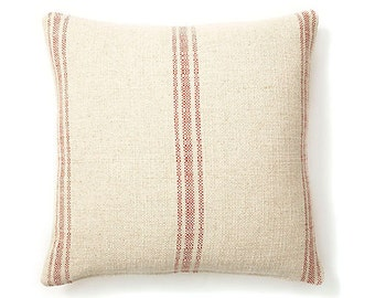 "NEW, Pillow Cover, Cushion,  24""x24""  red natural grain sack not burlap French Laundry"