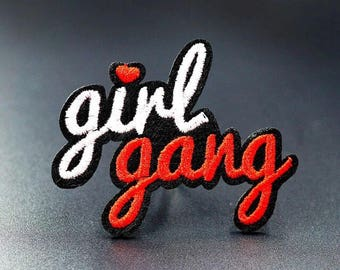 """Girl Gang Iron on Embroidered patch Appliqué (L=2.0"""" W=2.25"""")"""