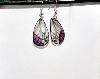 Handcrafted Butterfly Wing earrings, Jewelry, Sterling Silver, Hypoallergenic, 14k gold, Realistic, Pink clearwing butterflies