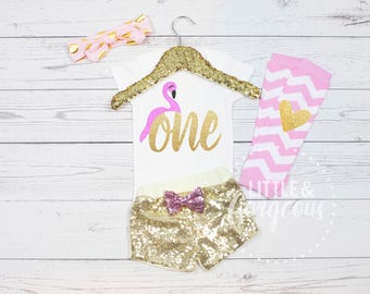 First Birthday Flamingo Onesie, 1st Birthday Flamingo Onesie, First Birthday One Girl Outfit, Flamingo Birthday Outfit, Girls Sparkle Shorts