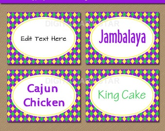 Printable Mardi Gras Food Labels - Mardi Gras Tent Cards - Mardi Gras Place Cards - EDITABLE Candy Buffet Labels - INSTANT DOWNLOAD M1