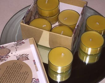 Beeswax Tea Lights steampunk Gift  Candles  Candle Home Decor New Home  Natural Tea Lights  Candle  yellow Travel Love