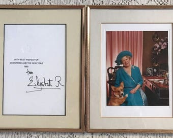 Queen Elizabeth Queen Mother Signed Christmas Card Framed 1993