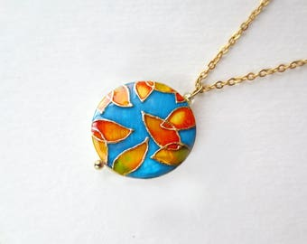 Autumn Leaves necklace hand painted on mother of pearl autumn pendant nature inspired autumn jewelry leaves necklace