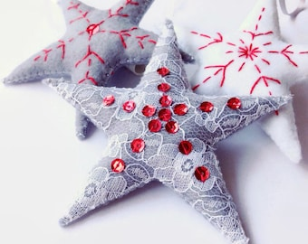 Christmas decoration / snowflake star bauble / red grey and white / set of three