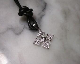 Cross Charm Pendant lily necklace Swarovski Gold Silver Charms