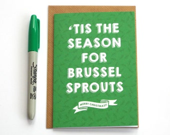 Funny Christmas Card, Modern Brussel Sprouts Christmas Card