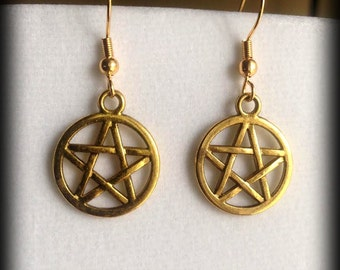 Gold Pentacle Earrings-  Pagan Wiccan Witch Jewelry