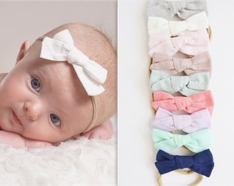 Nylon Baby Headband, Knot bow headbands, newborn headbands, baby headband, bow headband, one size fits all, COTTON TIED skinny nylon