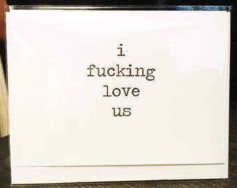 I fucking love us card // Valentine's Day // Love // Dating // Relationships // Wedding // To groom // To bride // Funny Valentine