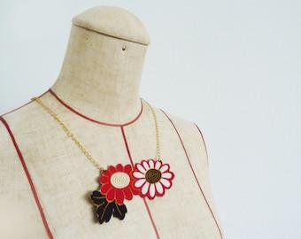 Necklace, kimono fabric, black white and red floral, vintage Japanese kimono fabric