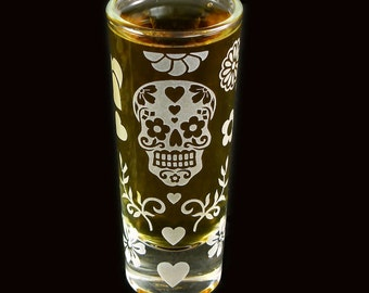 1 Sugar Skull Shot Glass, Day of the Dead, Calavera Birthday Gift Present for Man or Woman
