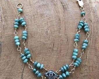 Pave Diamond Evil Eye Bracelet | Mystic Green Moonstone | Bohemian | Gemstone