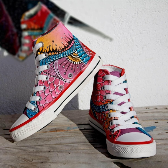 fetching how to design converse shoes at home. PINK DRAGON  Custom Sneakers Handpainted Shoes Customized Converse Painted Kicks Unique gift