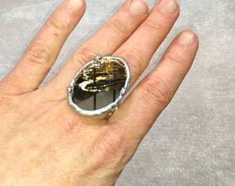 Mirror glass ring