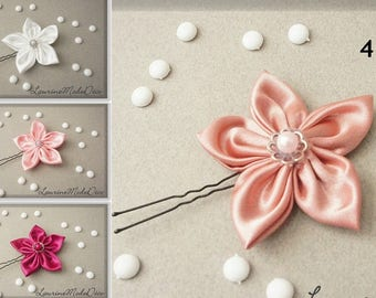 Pink satin flower choice, peak bun