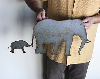 "Elephant metal wall art - 24"" wide - wall hanging elephants -hammered grey with rust accents patina"