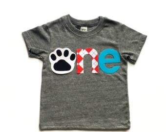 o n e //First Birthday//Dog Theme// Puppy Dog//Fabric Iron On Applique Letters//Other Numbers Available//Three Designs//Gender Neutral