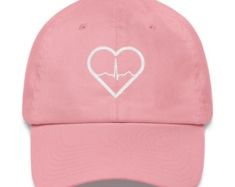 Heart beat in a heart dad hat