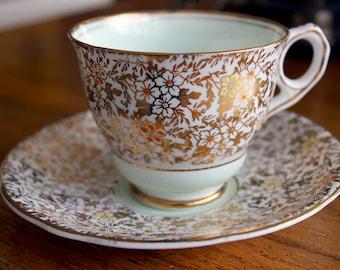 Royal Stafford Gold Chintz and Light Mint Green English Teacup