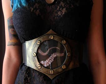 steampunk waist belt / underbust corset. octopus tentacles. armor like, fake metal. steampunk, fantasy, gothic, post apocalyptic costume.