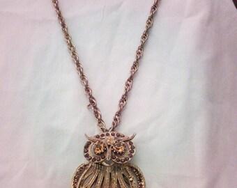 Vintage Owl Pendant Necklace Gold Tone and Rhinestones