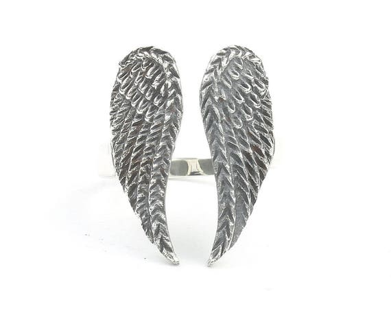 Sterling Silver Angel Wings Ring, Wings Ring, BOHO, Angel Wing , Gypsy Ring, Biker Ring, Angel Ring,  Festival Jewelry