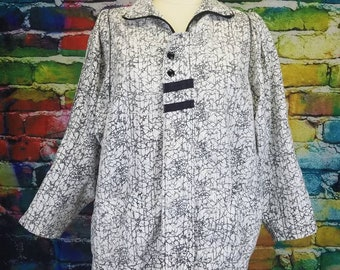 Vintage 1980s Black & White Abstract Novelty Print Jacket Three Quarter Sleeves Lightweight Jacket Zip Up Puffy Shoulders