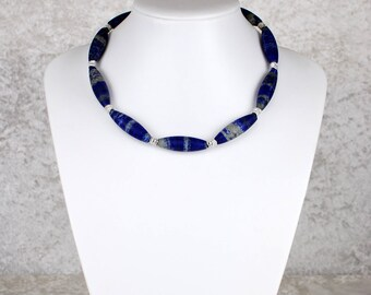 Set of Lapis Lazuli Necklace and Matching Earrings (Ear Pendants)