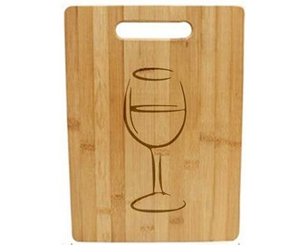 Laser Engraved Cutting Board - 048 - Wine glass