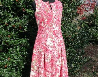 Vintage LINEN DRESS, RETRO 60s Sleeveless Sheath Dress, Full Skirt, Mid-Century Mad Men Betty Draper, bright pink floral print, tea length S