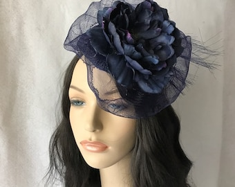 Large flower Navy Kentucky Derby Fascinator hat with Crinoline Mesh, Navy Blue Church hat, Navy Blue Mother of the Bride Wedding hat