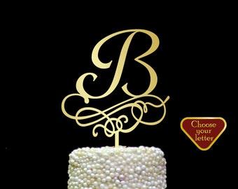Letter b, monogram wedding cake topper, elegant monogram cake toppers, initials wedding cake topper, personalized gold monogram, CT#207