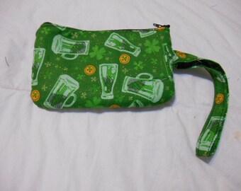 Handmade Coin Purse, wallet, change, make-up case, St. Patricks Day print