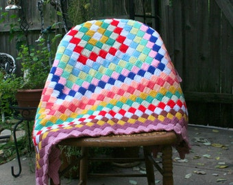 Multi Color Crocheted Afghan / Home Decor