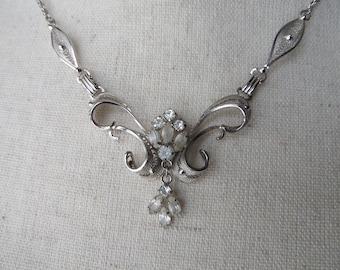 "Sterling Silver Filigree Rhinestone Pendant Necklace, Vintage Mid Century ""AM LEE"" Rhodium Plated Bridal Jewelry"