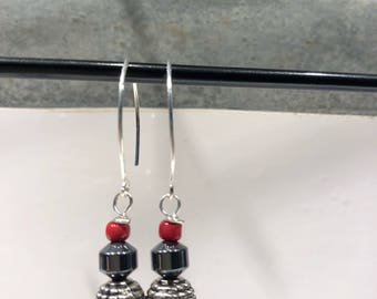 Red and black silver earrings
