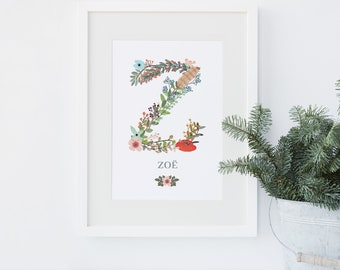 Floral Initial Letter personalised print - flowery typographic monogram art print with name