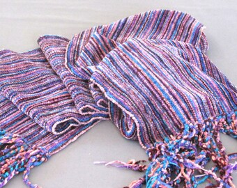 Handwoven chenille scarf in blues, purples, and reds