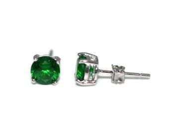 6mm Round Emerald Green Stud Earrings - Cubic Zirconia CZ Sterling Silver Stud Earrings in Prong Setting - Green Cubic Zirconia CZ Post