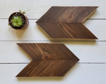 Rustic, Stained Wood, Chevron Arrows, Set of 2