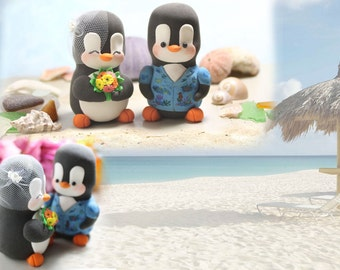 Hawaiian shirt Penguin cake toppers wedding - LARGER size - destination wedding ocean sea honeymoon beach cute funny bride groom blue orange