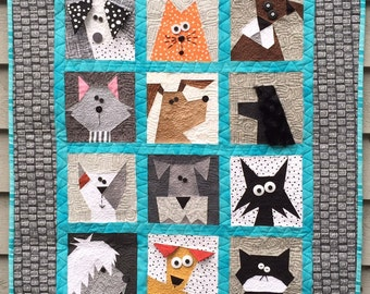Cats N' Dogs Paper Pieced Quilt Pattern