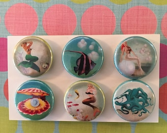 Mermaid Magnets, one inch round