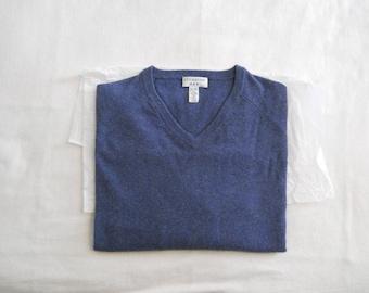 Covington 100% Cashmere Denim Blue V-Neck Sweater Men's XL