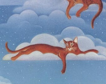 Abyssinian Cats Sleeping on Clouds Print of Original Painting